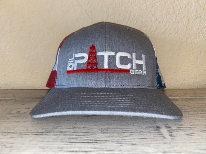 OPG CAP LG1 -  GREY RIM RED WHITE & BLUE PATRIOTIC MESH WITH RED WHITE LOGO