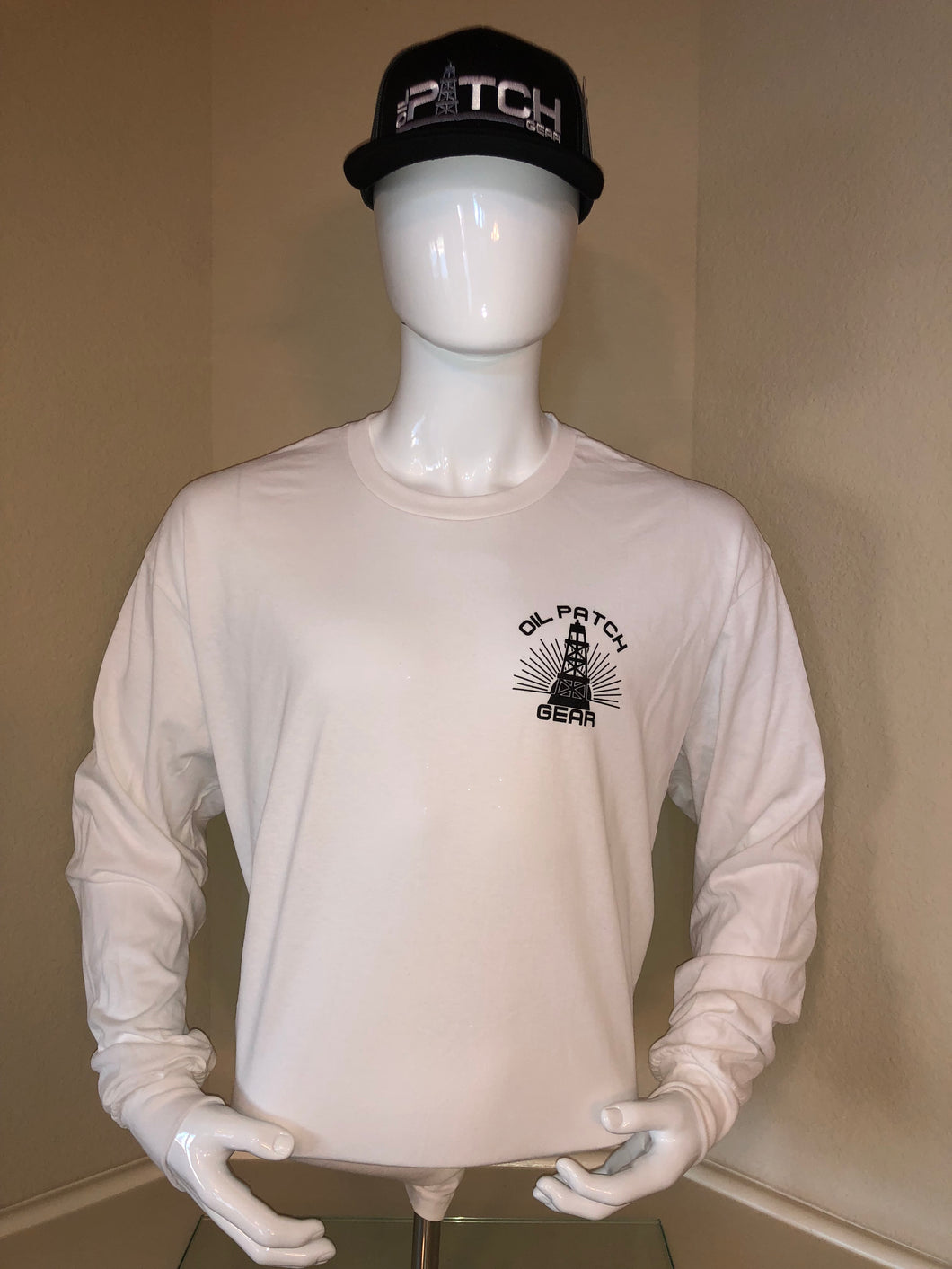 OPG White Long Sleeve T-Shirt with Black Logo