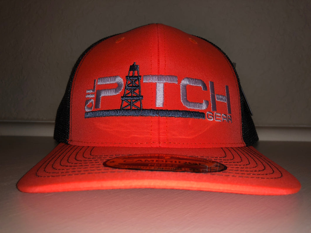 OPG CAP LG1 - NEON ORANGE TRUCKER CAP GREY MESH WHITE GREY LOGO