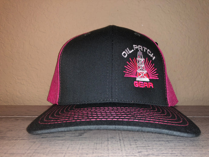OPG CAP LG2 -  GREY TRUCKER CAP WITH PINK MESH