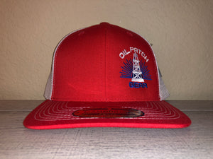 OPG CAP LG2 - RED TRUCKER CAP WITH WHITE MESH