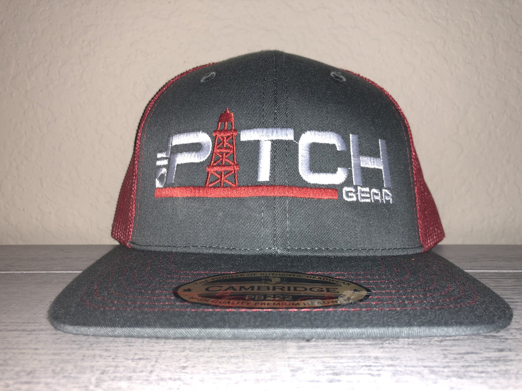 OPG TRUCKER CAP LG1 - DARK GREY MESH RED LOGO WHITE RED