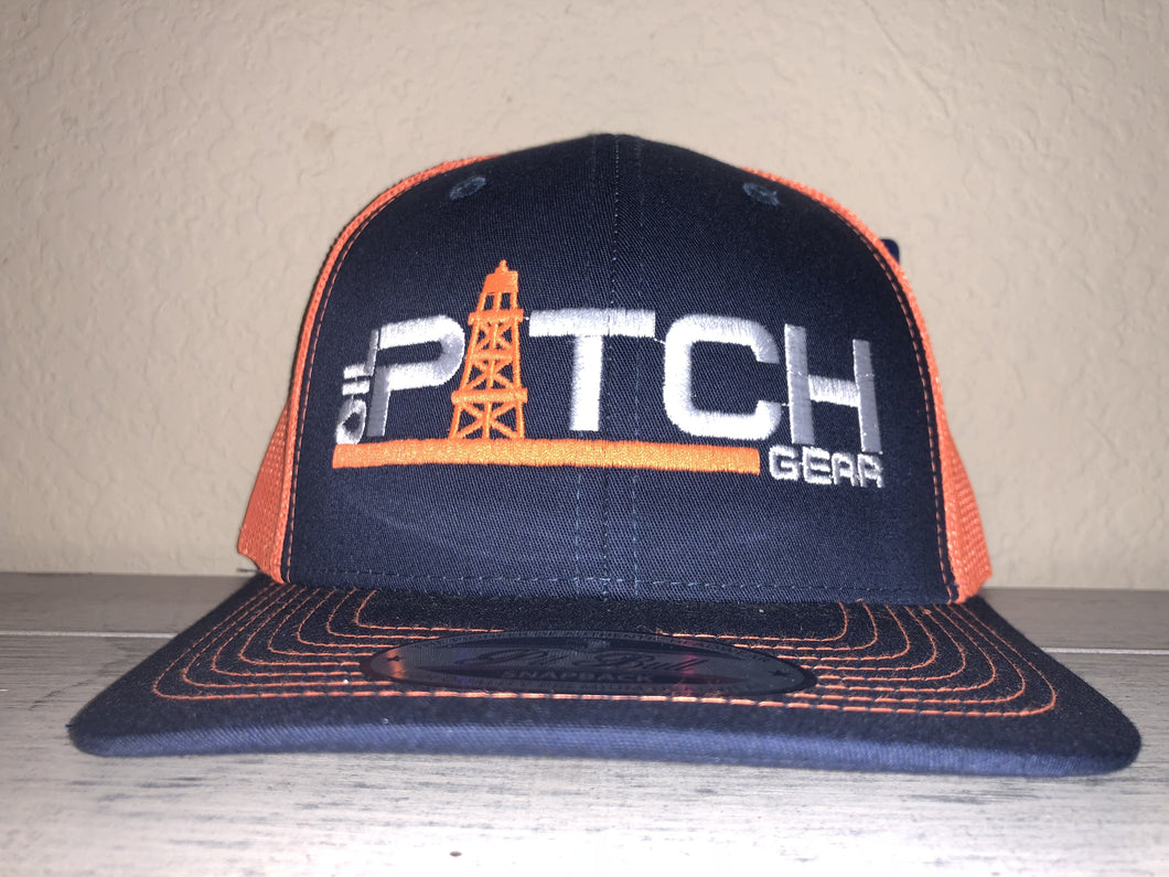 OPG TRUCKER CAP LG1 - NAVY BLUE MESH NEON ORANGE LOGO WHITE NEON ORANGE
