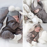 Newborn Baby Toddler Clothes Bodysuit Cute Bunny Rabbit Ears Long Sleeves Onesie