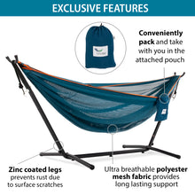 Load image into Gallery viewer, 9ft Mesh Hammock Combo in Blue and Orange