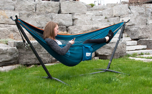 9ft Mesh Hammock Combo in Blue and Orange