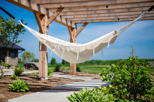 Brazilian Deluxe Double Hammock Natural with Fringe