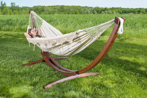Double Cotton Hammock with Solid Pine Arc Stand Natural