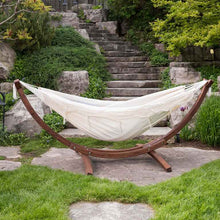 Load image into Gallery viewer, Double Cotton Hammock with Solid Pine Arc Stand Natural