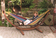Load image into Gallery viewer, Double Cotton Hammock with Solid Pine Arc Stand Tropical