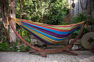Double Cotton Hammock with Solid Pine Arc Stand Tropical