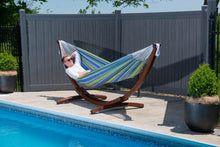 Load image into Gallery viewer, Double Cotton Hammock with Solid Pine Arc Stand Oasis
