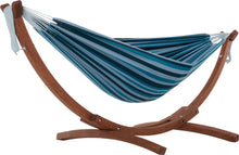 Load image into Gallery viewer, Double Cotton Hammock with Solid Pine Arc Stand Blue Lagoon