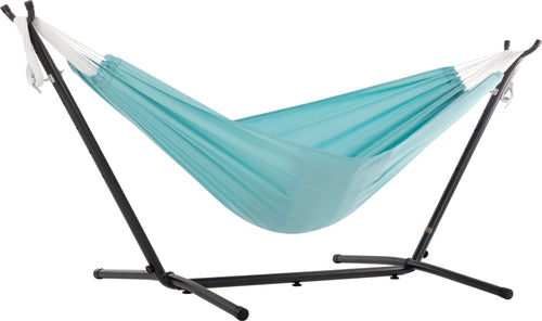 Combo - Double Polyester Hammock with Stand (9ft) - Aqua