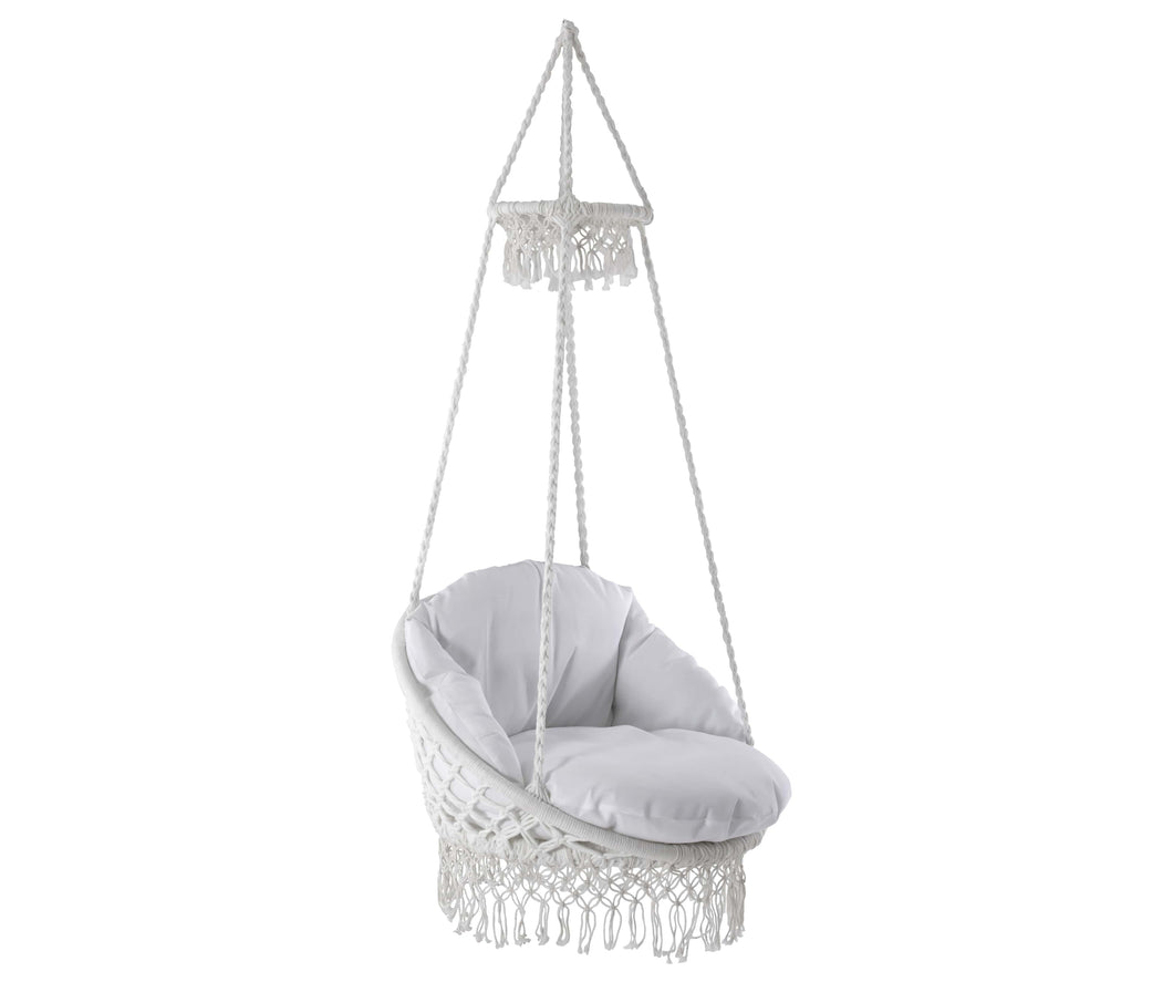 Deluxe Macrame Chair with Fringe and Pillow