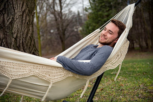 Universal Hammock Stand with Double Hammock Cream