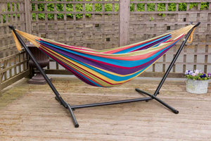 Universal Hammock Stand with Double Hammock Tropical
