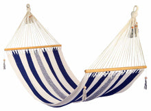 Load image into Gallery viewer, Large hammock Navy/White stripes, no crochet