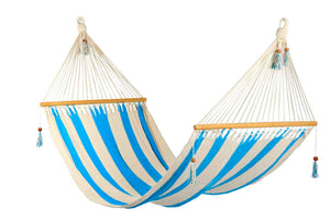 Large hammock Turquoise/White stripes, no crochet