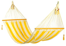 Load image into Gallery viewer, Large hammock Yellow/White stripes, no crochet