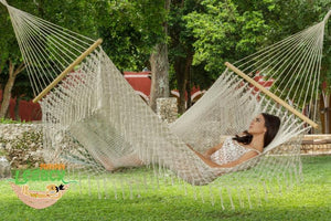 Spreader Bar Hammock Queen with Crochet Fringe Cream