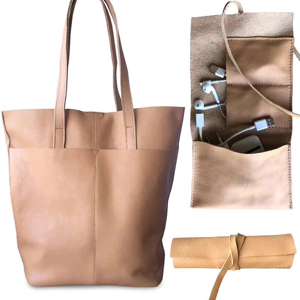 Work Combo Tote And Tech Roll Up Special Warrior Leather