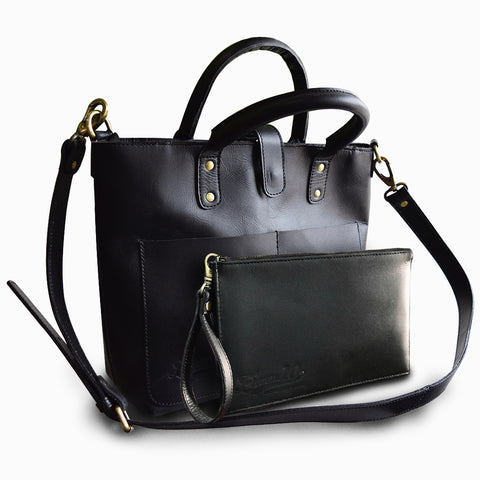 Black Heights Leather Tote Bag