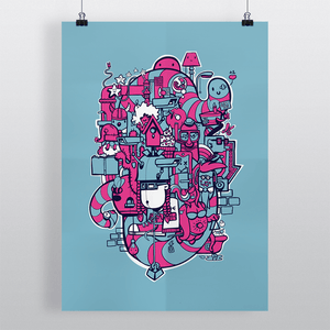 Print of doodle illustration Bright Lights Big City by Dutch freelance illustrator Michiel Nagtegaal, in blue and pink