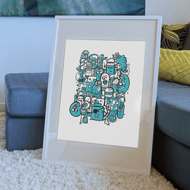 Bunch of Weirdos - Illustration Art Print on MrUpside webshop