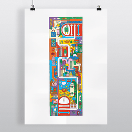 City Madness - Illustration Art Print on MrUpside webshop