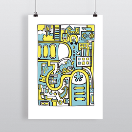 City Colors II - Illustration Art Print on MrUpside webshop