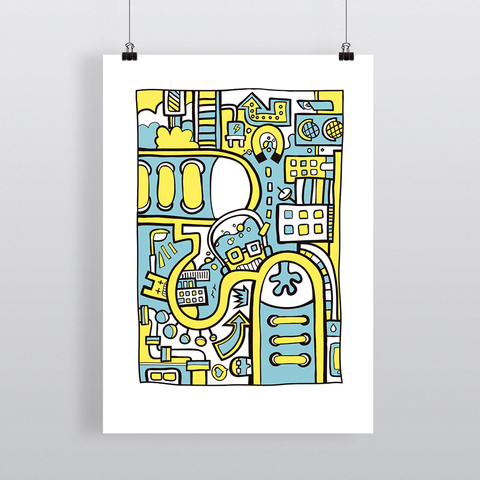 City Colors II Illustration Art Print by Dutch Freelance Illustrator Michiel Nagtegaal - View 2 of 6