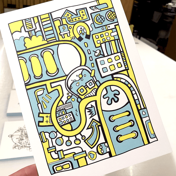 Luxe A5 size Postcard with a blue and yellow illustration City Colors II by Dutch Freelance Illustrator Mr. Upside / Michiel Nagtegaa