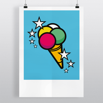 Ice-cream 'Scoops' - Illustration Art Print on MrUpside webshop