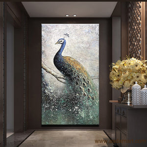 Vertical Large Abstract Oil Painting Blue Peacock Artwork for Hallway