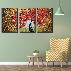 3 Pieces Large Handmade Red Floral Painting Artwork for Living Room