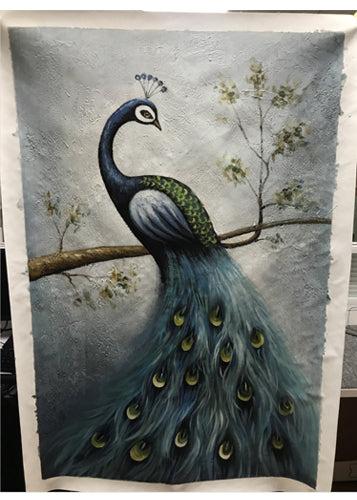 Hand Painted Canvas Art Smoky Blue Peacock