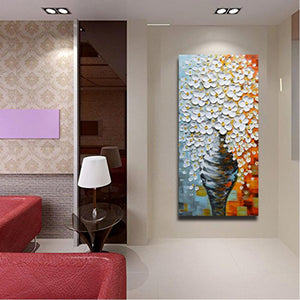 Asdam Art - 3D Oil Paintings On Canvas Elegant White Vase Abstract Artwork Wall Art (Free Shipping)