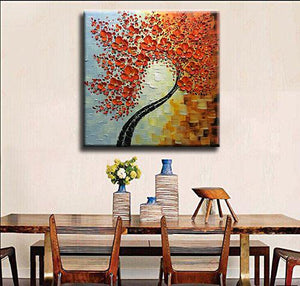 Canvas Art Paintings Square Red Floral Tree Palette Knife