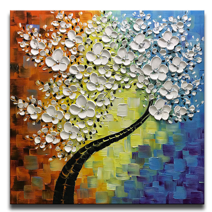 Square Canvas Art White Petals Black Black Trunk Clearly Texture