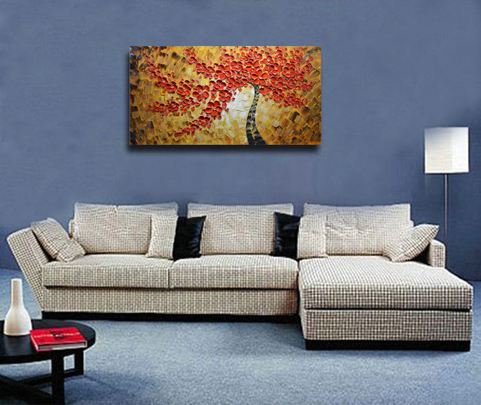 Red Flower Oil Paintings Black Trunk Yellow Texture for Living Room