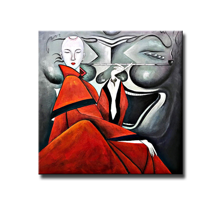 Japanese Woman Oil Paintings on Canvas Red and Gray Modern Abstract Artwork