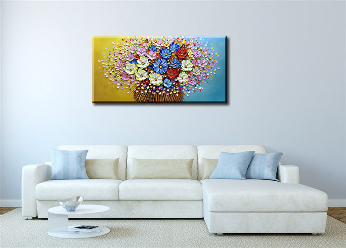 3D Hand Painted Modern Abstract Colorful Art Wall Art Flower Paintings for Living Room Bathroom Bedroom Fireplace Office