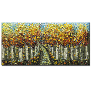 Hand Painted Canvas Art Autumn Cypress Forest Yellow Leaves