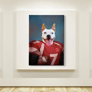 Football Player Custom Pet Canvas with Framed Ready to Hang