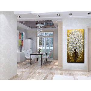 White Petals Yellow Pistil Brown Vase Vertical Wall Painting for Sale