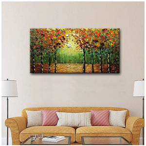 Abstract Oil Painting Forest 100% Hand Painted Decor Living Room Wall