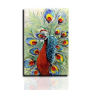 Multi-color 3D Hand Painted Tail Details Peacock Canvas