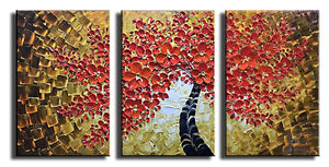 AsdamArt Handpainted oil paintings Red Art Work Maple Tree Pictures Abstract Art decor