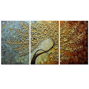 3 Piece Paintings Gold Flower Tree Canvas Paintings Perfect as Gifts